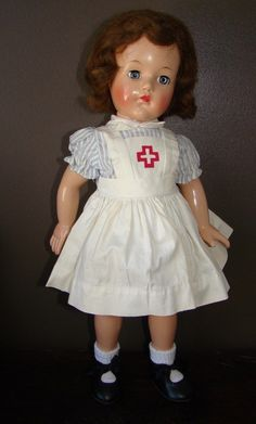 "Effanbee Little Nurse Composition Doll ""Little Lady"" 40's Collectible 18"" 