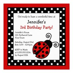 Red Ladybug Birthday - Black and White Polka Dots Personalized Announcement