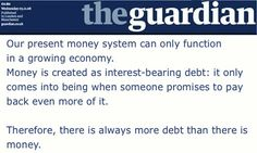 Guardian: Money is created as interest-bearing debt.