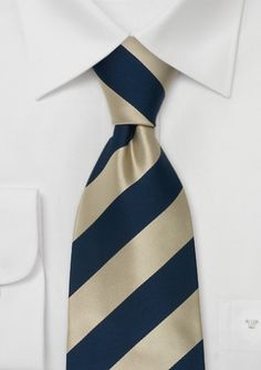 Striped Silk Tie in Light Gold and Navy-Blue