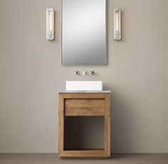 Reclaimed Russian Oak Vessel Washstand Bath Collection - Natural   RH