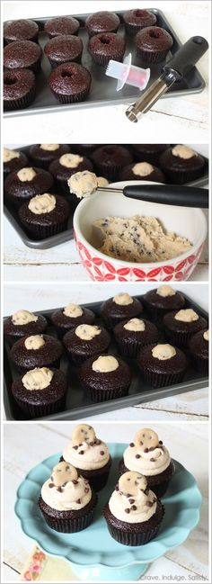 Chocolate Chip Triple Cookie Dough Cupcakes... This summer these will be in my BELLY! :D