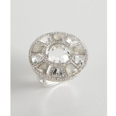 Sablina Grey Moonstone And White Topaz Cocktail Ring ($869) ❤ liked on Polyvore