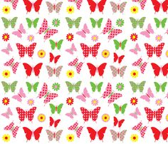 butterfly flower fly fabric by amy_frances_designs on Spoonflower - custom fabric