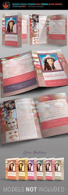 Nature Funeral Program Photoshop Template v2 Funeral, Brochures - free memorial service program