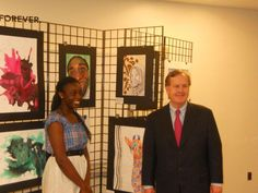 """Congressman Pittenger and Akanima Okpokowuruk, creator of the artwork """"Cuz,"""" which was one of many remarkable entries in the 2012 Congressional Art Competition."""