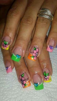 Super Cute Ideas for Summer Nail Art - Nailschick Floral Nail Art, Acrylic Nail Art, Cute Toe Nails, Pretty Nails, Beautiful Nail Designs, Cool Nail Designs, Food Nail Art, Finger, Sparkle Nails
