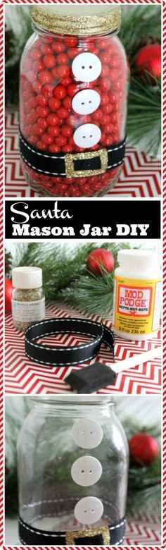 Check out this easy Santa mason jar DIY, perfect for last minute gifts! CatchMyParty.com