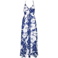 Kai Navy Floral Maxi Dress (3.040 RUB) ❤ liked on Polyvore featuring dresses, flower print dress, floral day dress, navy blue floral dress, navy blue dress and navy blue maxi dresses