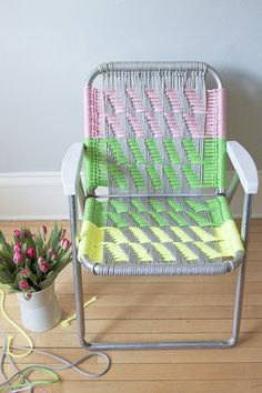 DIY macrame garden chair