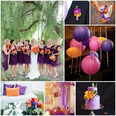 Orange  Purple Wedding...I like some aspects of this (boutineers and bouquets)...not a fan of the ruffles on the BM dresses