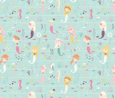 Crib Sheet | Baby Girl Bedding | Pink and mint Crib Sheet | Mermaid Nursery | Mermaid Decor | Standard or Mini Crib Sheet | Changing Pad