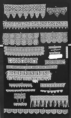 Multiple Strips of needle lace. Italian late Hopefully I can find closeups of these. Needle Lace, Bobbin Lace, Antique Lace, Vintage Lace, Textiles, Drawn Thread, Lacemaking, Point Lace, Clothing And Textile