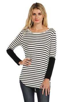STRIPE PRINT CONTRAST SOLID TRIM SLEEVE PULLOVER- ivory/black $22..FREE SHIPPING on this new item ends tonight!