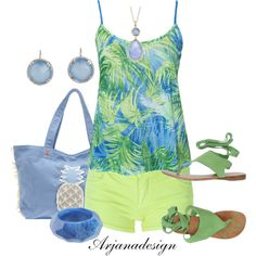 """""""Palm Tree Top"""" by arjanadesign on Polyvore"""