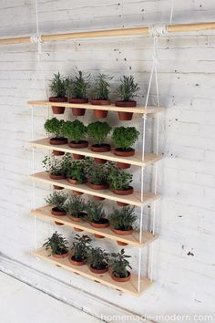 vertical garden - instead of white rope, use cable and instead of boards with holes, use wood boxes, stained dark gray