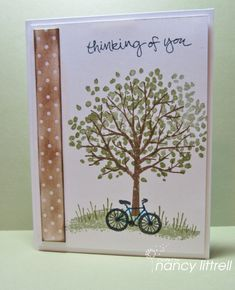 Occasions Sheltering Tree - side strip is the polka dotted paper sponged in Soft Suede.