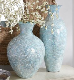 Pier spectacular Aqua Mosaic Vases, clad in glittering hand-placed glass tiles, bring a sun-kissed ocean vibe to your home or beach cottage. They make dazzling displays on their own, or fill them with faux florals or dried sea grasses for extra impact. Vase Deco, Mosaic Vase, Mirror Mosaic, Coastal Decor, Home Decor Inspiration, Accent Pieces, Home Accessories, Pots, Living Room Decor