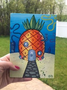Small Canvas Paintings, Easy Canvas Art, Small Canvas Art, Cute Paintings, Mini Canvas Art, Acrylic Painting Canvas, Simple Acrylic Paintings, Oil Paintings, Spongebob Painting
