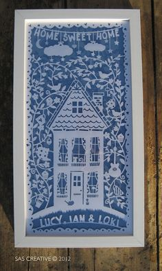 Home Sweet Home Papercut, by Samantha Sherring, love the dangling moon and stars