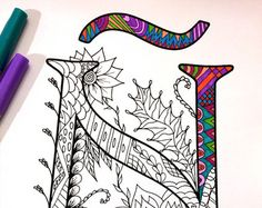 8.5x11 PDF coloring page of the uppercase letter K - inspired by the font Harrington  Fun for all ages.  Relieve stress, or just relax and have fun using your favorite colored pencils, pens, watercolors, paint, pastels, or crayons.  Print on card-stock paper or other thick paper (recommended).  Original art by Devyn Brewer (DJPenscript).  For personal use only. Please do not reproduce or sell this item.  HOW TO DOWNLOAD YOUR DIGITAL FILES: https://www.etsy.com/help/article...