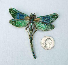 Vintage Dragonfly Brooch Pin // Large Blue Green Rhinestone Enamel Jewelry.