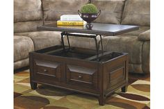 Rustic Brown Hindell Park Coffee Table with Lift Top View 3