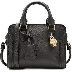 Alexander McQueen Mini Padlock Leather Shoulder Bag ($910) ❤ liked on Polyvore featuring bags, handbags, shoulder bags, black, shoulder strap handbags, genuine leather purse, shoulder handbags, skull purse and genuine leather shoulder bag