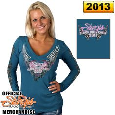 Official 2013 Sturgis Motorcycle Rally Mirror Wings V-Neck Long Sleeve Ladies Tee