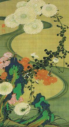 がiamjapanese:伊藤若冲(伊藤若冲日本語、1716年から1800年)菊絹上の厚い色で塗らストリーム菊花流水図の横