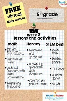 Created and delivered by teachers, each week you will find an easy-to-follow schedule, for second grade students, and daily video lessons for math and literacy. You will also find worksheets for the math and literacy lessons as well as a daily STEM activity.  Download easy-to-follow lesson plans that have all the resources needed for a week's worth learning. Each day includes a grade appropriate math and literacy video, as well as printable activities for extra practice.