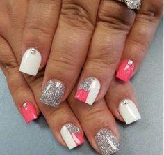 Pink, white, silver glitter nails