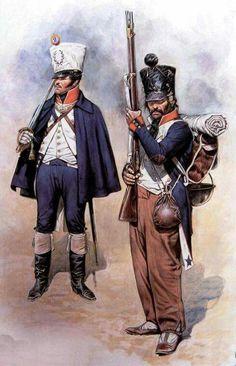 Ufficiale e fuciliere della fanteria di linea francese