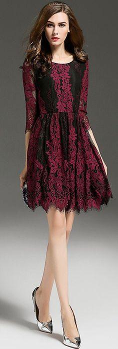 Burgundy 3/4 Sleeves Lace Dress