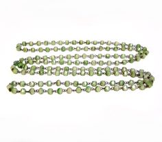 Vintage Green Glass Bead Necklace, Wire Chain