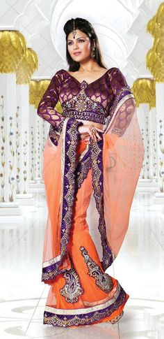 $81.96 Orange A Line Embroidery and Cut Work Lehenga Style Saree 26653