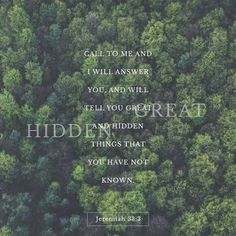 Jeremiah 33:3 (ESV) Call to me and I will answer you, and will tell you great and hidden things that you have not known.