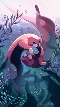 Otters by Sandwichwithham on DeviantArt Cute Animal Drawings, Animal Sketches, Cartoon Drawings, Cute Drawings, Cute Disney Wallpaper, Animal Wallpaper, Kawaii Art, Cute Illustration, Otters