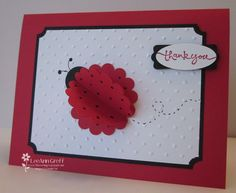 """cute little ladybug card made with 3 red scallops 3"""" and small circle for head."""