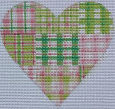 Large mini madras patchwork heart - pinks & greens