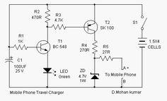 Circuitos Eletrônicos.: Circuito de Carregador solar de celular