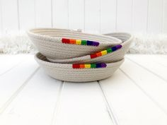 Coiled rope trinket dish with rainbow feature, small rainbow bowl, natural cotton rope bedside catchall, ideal friendship gift Rainbow Pride, Rainbow Baby, Rainbow Drinks, Neat And Tidy, Friendship Gifts, Cotton Rope, Girl Day, Coaster Set, Rainbows