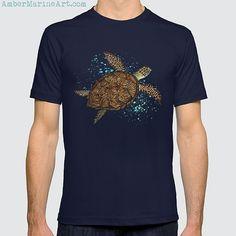 Tee Shirts ••• Hawksbill Sea Turtle - watercolor art ~ Endangered species series by Amber Marine. ••• AmberMarineArt.com •••