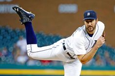Strike a pose:    The Tigers' starting pitcher Justin Verlander pitches in the first inning against the Indians on Sept. 27 in Detroit. The Tigers won 12-0.