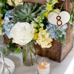 composition florale et numéro pour mariage champêtre, vitange ou rustique