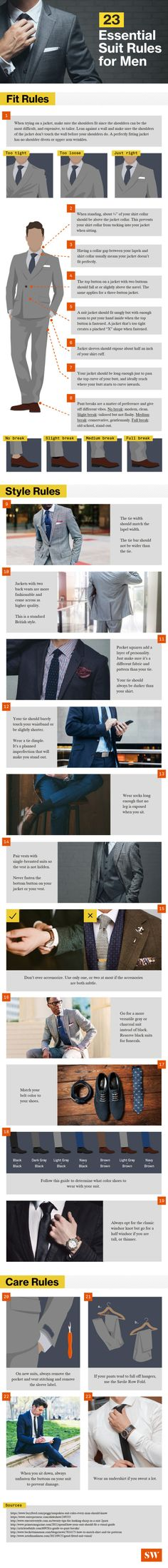 Compared to women's formalwear, a men's suit looks like the easiest look to pull off in a pinch, but it's not as simple as it seems.Whether you're looking to wow them at a job interview or suiting up for a wedding, these twenty-three essential suit rules will help you look your best.Via SW.Lookin' good with infographics.