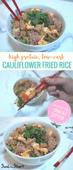 This low carb, high protein cauliflower fried rice recipe is a perfect meal idea for lunch or dinner. It's also great for meal prep!