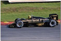 Ayrton Senna JPS Lotus Renault 97T F1. Brands Hatch 1985 European GP.