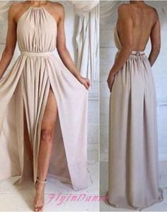 2017 New Arrival A line Backless Prom Dress Sexy Open Backs Long Chiffon Slit Evening Formal Dresses For Teens
