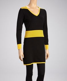 Take a look at this Yellow & Black Shift Dress on zulily today!